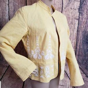 Orvis linen Blend yellow Women's blazer jacket Siz
